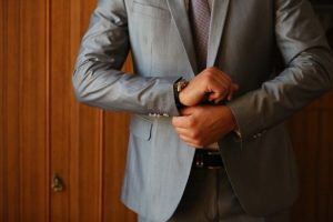 Sales manager executive in a suit, contact list