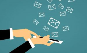Email list, mobile device receiving newsletters