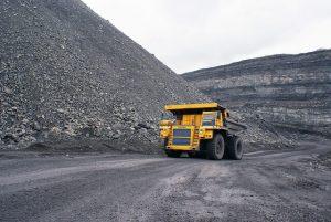 Mining industry truck in a coal mine